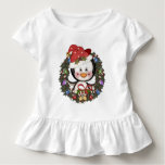 Christmas Penguin Holiday Wreath Toddler T-shirt