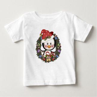 Christmas Penguin Holiday Wreath Tee Shirts