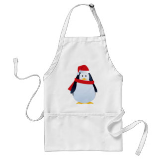 Christmas Penguin In A Santa Hat Adult Apron