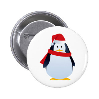 Christmas Penguin In A Santa Hat 2 Inch Round Button