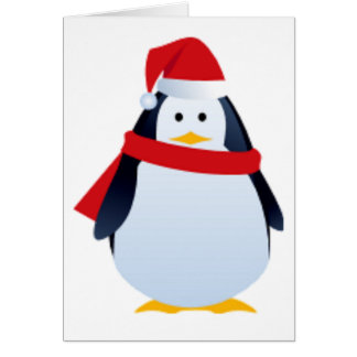 Christmas Penguin In A Santa Hat Card