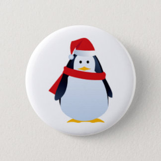 Christmas Penguin In A Santa Hat Pinback Button