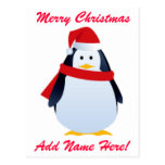 Christmas Penguin In A Santa Hat Postcard