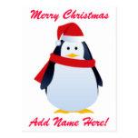 Christmas Penguin In A Santa Hat Postcard