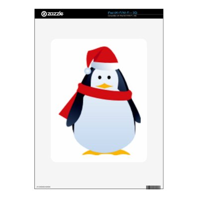 Christmas Penguin In A Santa Hat Skin For The iPad