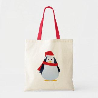 Christmas Penguin In A Santa Hat Tote Bag
