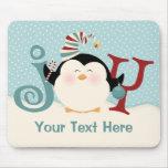 Christmas Penguin Joy Mouse Pad