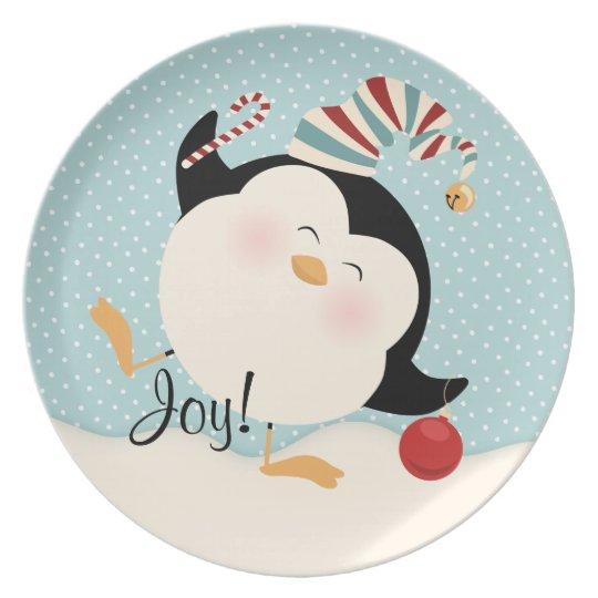 Christmas Penguin Melamine Plate