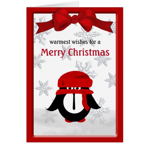 Christmas penguin merry christmas greeting card zazzle for Penguin christmas cards homemade
