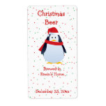 Christmas Penguin Mini Beer Label Shipping Label