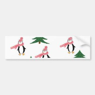 Christmas Penguin Muffin Bumper Sticker