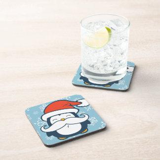 Christmas Penguin Mustache Trend Coasters