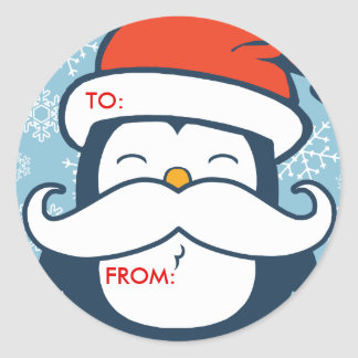 Christmas Penguin Mustache Trend Gift Tags Classic Round Sticker
