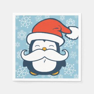 Christmas Penguin Mustache Trend Napkin