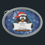 "Christmas Penguin Oval Belt Buckle<br><div class=""desc"">This adorable penguin is ready for the holidays,  text can be personalized.</div>"