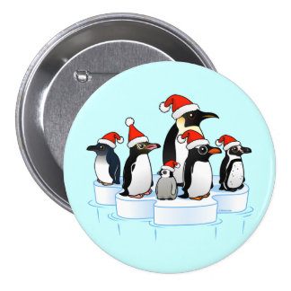 Christmas Penguin Party 3 Inch Round Button