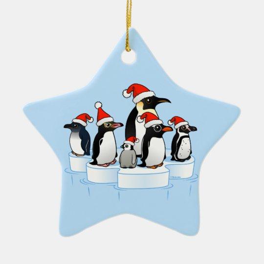 Christmas Penguin Party Ceramic Ornament