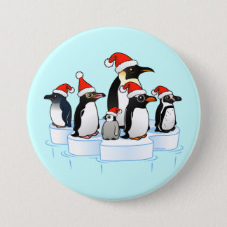 Christmas Penguin Party Pinback Button