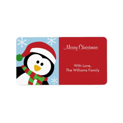 Christmas penguin personalized gift tags label zazzle
