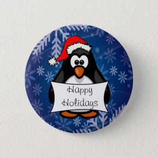 Christmas Penguin Pinback Button