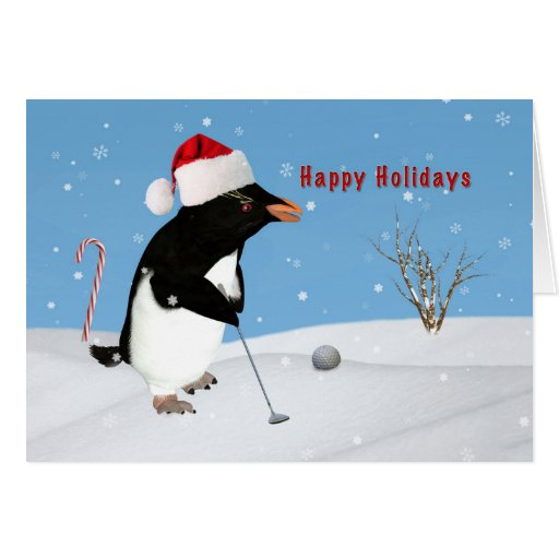 Christmas penguin playing golf card zazzle for Penguin christmas cards homemade