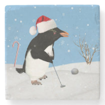 Christmas, Penguin Playing Golf Stone Coaster