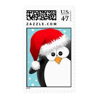 Christmas Penguin Postage Stamp