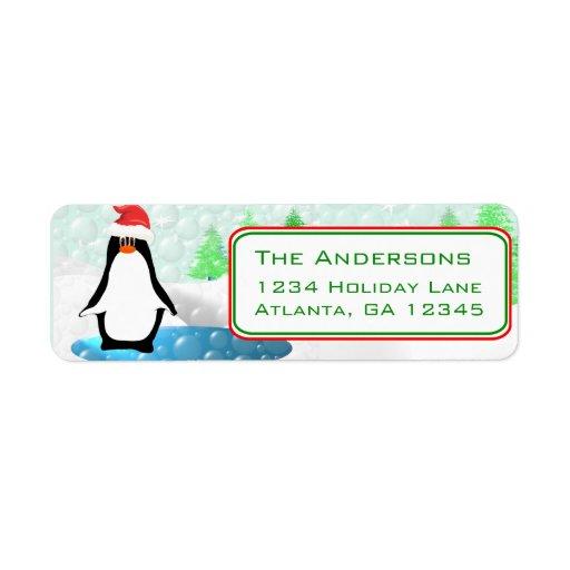 Christmas Penguin Return Address Custom Return Address Labels