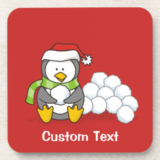 Christmas penguin sitting with snow balls A little Drink Coaster