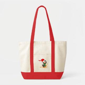 Christmas Penguin Skiing Tote Bag