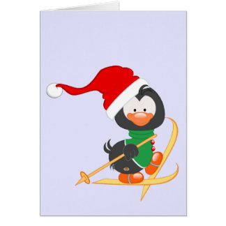 Christmas Penguin Skiing Card