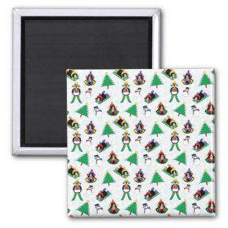 Christmas penguin skiing magnet