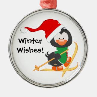 Christmas Penguin Skiing Christmas Ornament