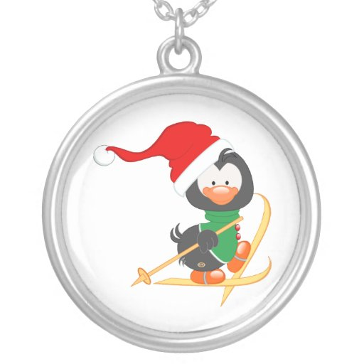 Christmas Penguin Skiing Personalized Necklace
