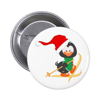 Christmas Penguin Skiing Pinback Button