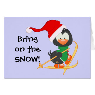 Christmas Penguin Skiing Snow Card