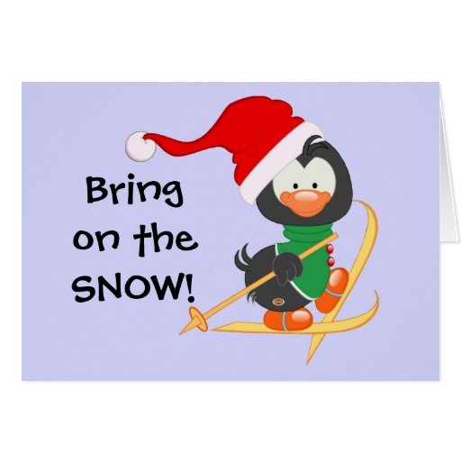 Christmas penguin skiing snow greeting card zazzle for Penguin christmas cards homemade