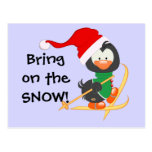 Christmas Penguin Skiing Snow Postcards