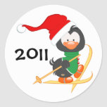 Christmas Penguin Skiing Stickers