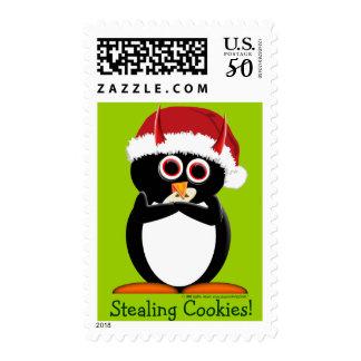 Christmas Penguin Stamps Stealing Santa's Cookies!