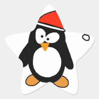 Christmas penguin star sticker