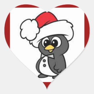 Christmas Penguin Heart Stickers