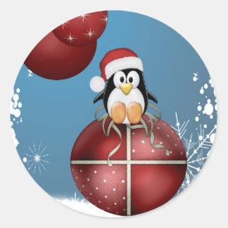 Christmas Penguin Round Sticker