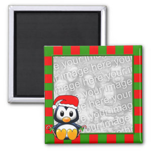 Christmas Penguin Striped Photo Frame Style Magnet magnet