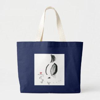 Christmas Penguin, Sumi-e Large Tote Bag