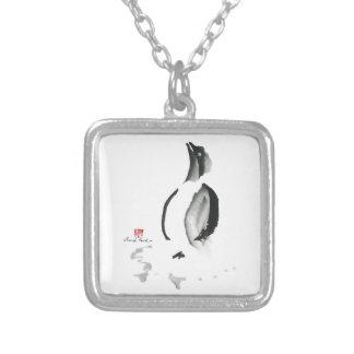Christmas Penguin, Sumi-e Personalized Necklace