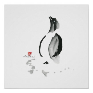 Christmas Penguin, Sumi-e Poster