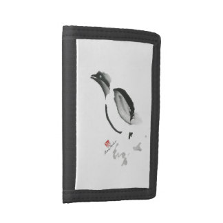 Christmas Penguin, Sumi-e Tri-fold Wallets
