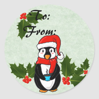 Christmas Penguin To and From Stickers