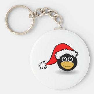 Christmas Penguin Wearing Santa Hat Keychain